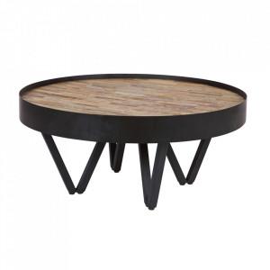 Masuta neagra/maro din lemn de tec reciclat 74 cm Dax Woood