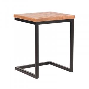Masuta neagra/maro din lemn si metal 40x40 cm Dennis Vintage LABEL51