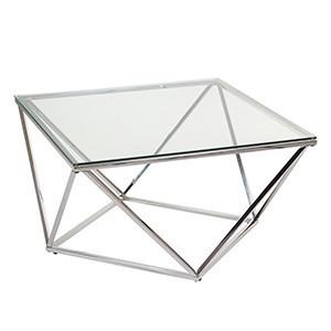 Masuta transparenta/argintie din sticla si inox 80x80 cm Pris Santiago Pons