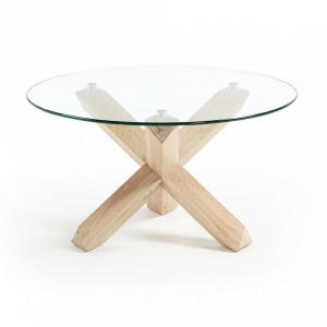 Masuta transparenta/maro din sticla si lemn pentru cafea 65 cm Lotus Kave Home