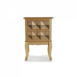 Noptiera maro din lemn si MDF Elva Bedside Fir Versa Home
