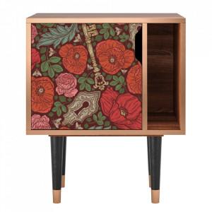 Noptiera multicolora din MDF si lemn Poppy Garden Furny