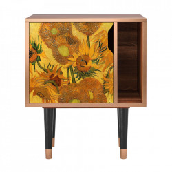 Noptiera multicolora din MDF si lemn Sunflowers By Vincent Van Gogh Furny