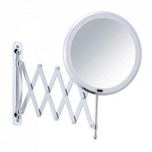 Oglinda cosmetica extensibila rotunda cu LED argintie din metal 20x55 cm Barona Wenko