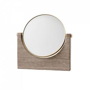 Oglinda cosmetica maro din marmura si alama 25x26 cm Pepe Menu