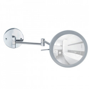 Oglinda cosmetica rotunda cu LED argintie din metal 24x40 cm Aura Wenko