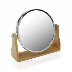 Oglinda cosmetica rotunda maro/argintie din lemn si metal 19x21 cm Anne Versa Home