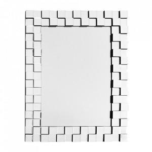 Oglinda dreptunghiulara argintie din MDF si metal 65x85 cm Dyonisos Kayoom