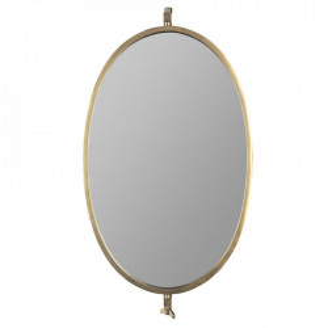 Oglinda ovala aurie din fier 31x48 cm Lara White Label