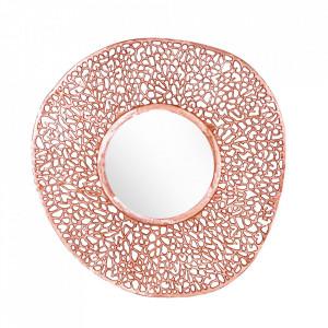 Oglinda rotunda aramie din metal 76 cm Leaf Invicta Interior