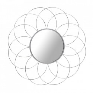 Oglinda rotunda argintie din metal 80 cm Phantoma Kayoom