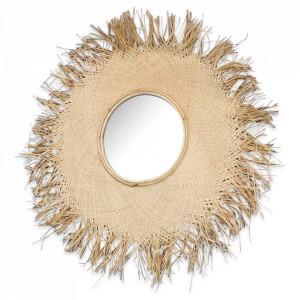 Oglinda rotunda crem din rafie 75 cm Fatou Objet Paris