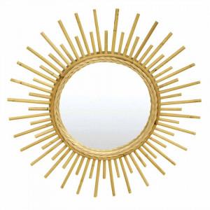 Oglinda rotunda crem din ratan 60 cm Sun Zago