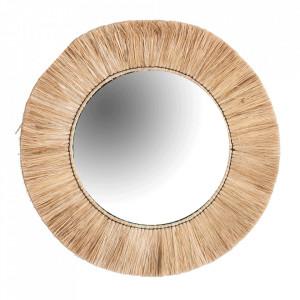Oglinda rotunda din fibre naturale si fier 65 cm Henderson Natual Vical Home