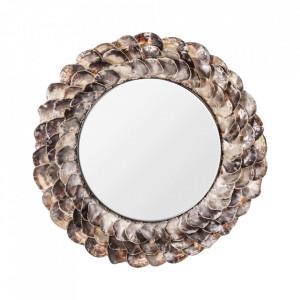 Oglinda rotunda maro din otel si scoici 125 cm Inga Vical Home