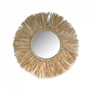 Oglinda rotunda maro din rafie 44 cm Sahara Opjet Paris