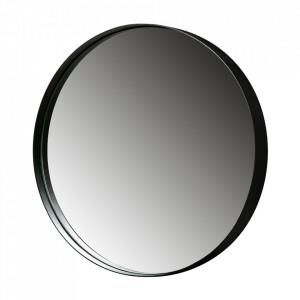 Oglinda rotunda neagra din metal 80 cm Doutzen Woood