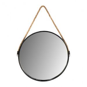 Oglinda rotunda neagra/maro din sfoara si metal 63x95 cm Yona HSM Collection