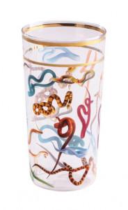 Pahar multicolor din sticla 7x13 cm Snakes Toiletpaper Seletti