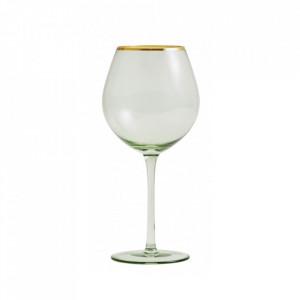Pahar transparent/auriu din sticla pentru vin 7x23 cm Greena Nordal