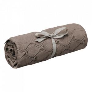 Patura maro ciocolata din bumbac organic 80x100 cm Leaf Knit Cam Cam