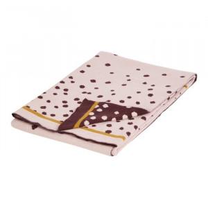 Patura roz din bumbac pentru copii 80x100 cm Dots Powder Done by Deer