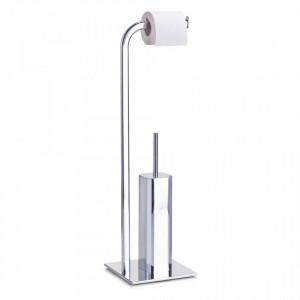 Perie toaleta cu suport hartie igienica din inox si metal cromat Bathroom Decor Zeller