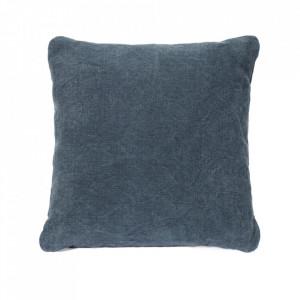 Perna decorativa patrata albastru petrol din in 45x45 cm Volo Serax