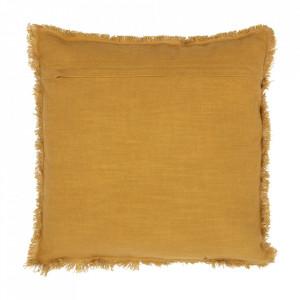 Perna decorativa patrata galben mustar din bumbac 45x45 cm Tassel Be Pure Home