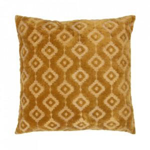 Perna decorativa patrata galben mustar din catifea 50x50 cm Bricks Be Pure Home