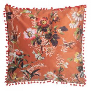 Perna decorativa patrata portocalie/multicolora din poliester 45x45 cm Sennen Ixia