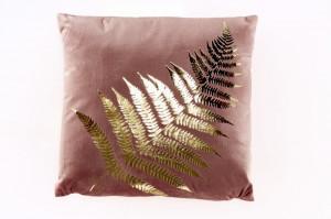 Perna decorativa patrata roz/aurie din catifea 40x40 cm Rosie Invicta Interior