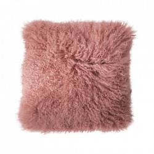 Perna decorativa patrata roz din blana si poliester 40x40 cm Nature Bloomingville