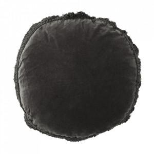 Perna decorativa rotunda gri carbune din catifea si fibre 45 cm Charcoal Madam Stoltz