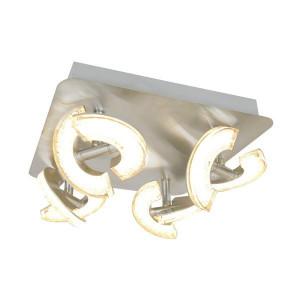 Plafoniera argintie din metal si plastic cu 4 LED-uri Bern Zuma Line