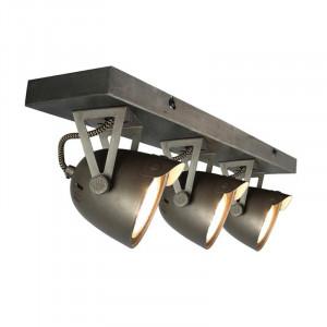 Plafoniera gri din metal cu 3 becuri Spot Cap LABEL51
