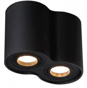 Plafoniera neagra din metal cu 2 becuri Basic Round Two Black Maxlight