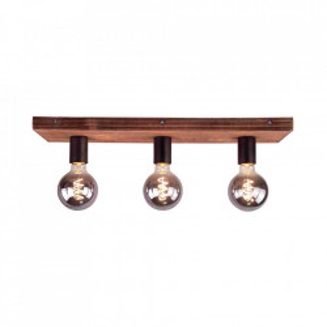 Plafoniera neagra/maro din metal si lemn cu 3 becuri Panto Brilliant