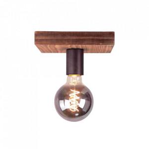 Plafoniera neagra/maro din metal si lemn Panto Brilliant