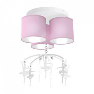 Plafoniera roz din metal si textil Baletnica Dance Milagro Lighting