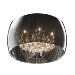 Plafoniera transparenta/argintie din sticla si metal cu 5 becuri Ceiling Crystal Zuma Line
