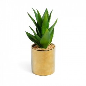 Planta artificiala cu ghiveci ceramic auriu 10.8 cm Agave Flower La Forma