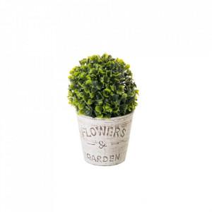 Planta artificiala verde/alba din plastic si ciment 21 cm Jardin Unimasa