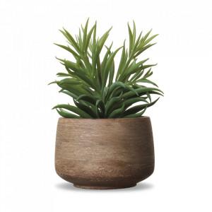 Planta artificiala verde/maro din plastic si papier mache 19 cm Herbes Opjet Paris