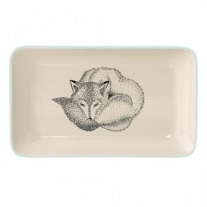 Platou alb/albastru din ceramica 12x19 cm Fox Bloomingville