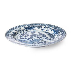 Platou albastru/alb din portelan 25 cm Hyoto Plate HK Living