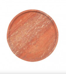 Platou decorativ rosu din travertin Red Marble Round Versmissen