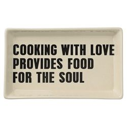 "Platou dreptunghiular 23x13 cm ceramic alb ""Cooking with..."" Bloomingville"