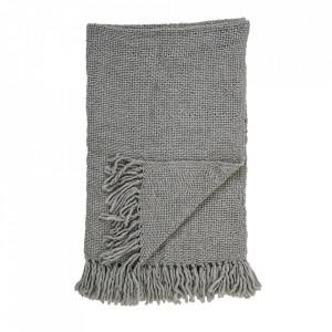 Pled gri din lana si fibre acrilice 130x170 cm Chen Bloomingville