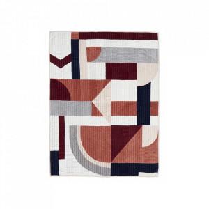 Pled matlasat multicolor din catifea si poliester 130x170 cm Patchwork Rose Nordal
